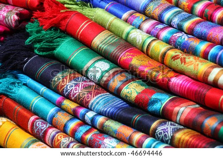 Ecuadorian (Peruvian) traditional fabrics - stock photo