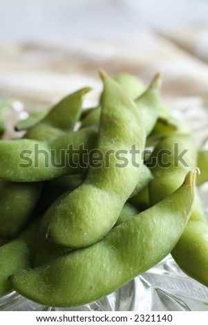 Edamame, green soybean. Shallow DOF. - stock photo