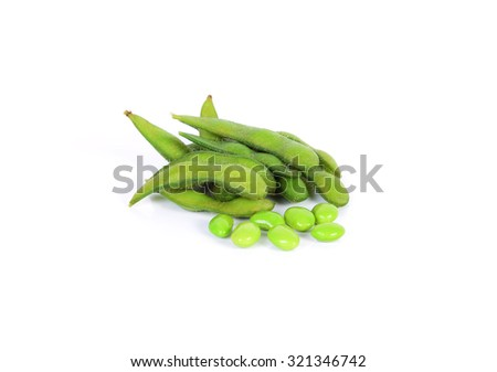 edamame nibbles, boiled green soy beans, japanese food - stock photo
