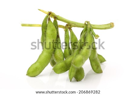 edamame nibbles, boiled green soy beans ,vegetarian food  - stock photo