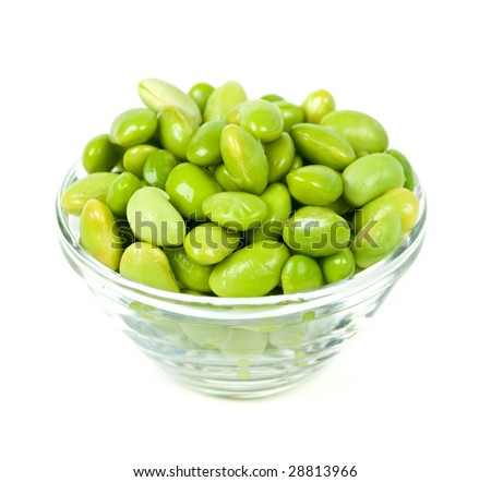 Edamame soy beans shelled in glass bowl - stock photo