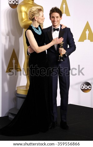 Eddie Redmayne and Cate Blanchett at the 87th Annual Academy Awards - Press Room held at the Loews Hollywood Hotel in Los Angeles, USA February 22, 2015. - stock photo