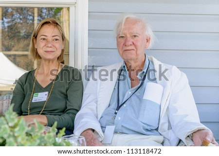 EDEN MILLS, ON - SEPTEMBER 16:  Founder Leon Rooke, recipient of the Governor Generals Award and Gloria Vanderbilt Fiction Award, attends Writers Festival, Eden Mills, Ontario on September 16, 2012. - stock photo