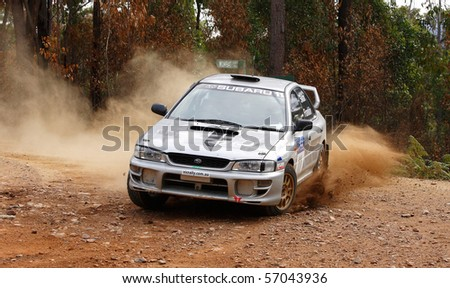 EDEN, NSW - JUNE 13: Matt Swan and Paul Franklin during the Bega Vally Rally round 2 of the victorian rally championships, June 13,2010, Eden,NSW, Australia - stock photo