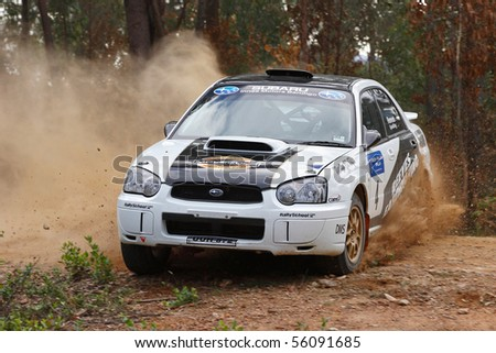 EDEN, NSW - JUNE 13: Nathan Reeves/Scott Spedding on their way to an overall win at the Bega Vally Rally round 2 of the VRC, June 13, 2010, Eden, Australia - stock photo