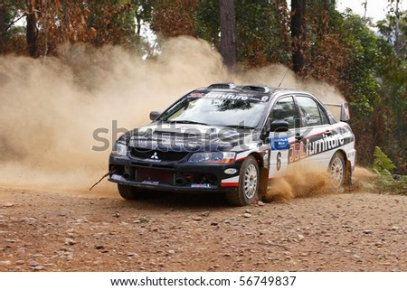 EDEN, NSW - JUNE 13: Warren Lee/ David Lethlean at the Bega Vally Rally, round 2 of the victorian rally championships, June 13, 2010 in Eden, NSW, Australia - stock photo