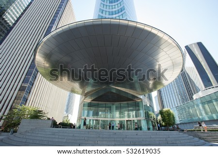 Edf office paris france august 2016 la defense skyscrapers with glass
