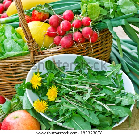 Edible dandelion and fresh fruit and vegetable - stock photo