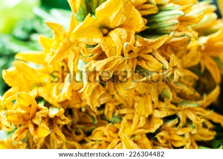 Edible pumpkin flowers on market. - stock photo