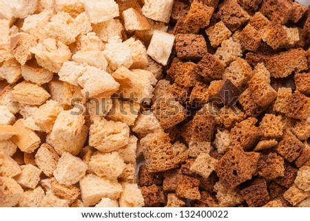 edible stack small crackers from bread - stock photo