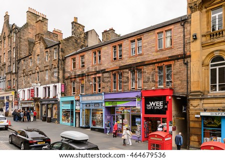 EDINBURG, SCOTLAND - JULY 17, 2016: Achitecture of the Royal Mile terrace in Edinburgh, Scotland. Old Town and New Town are a UNESCO World Heritage Site