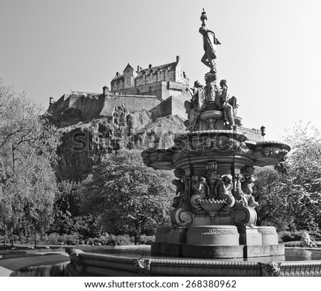 Edinburgh Castle and Ross Fountain, Scotland - stock photo