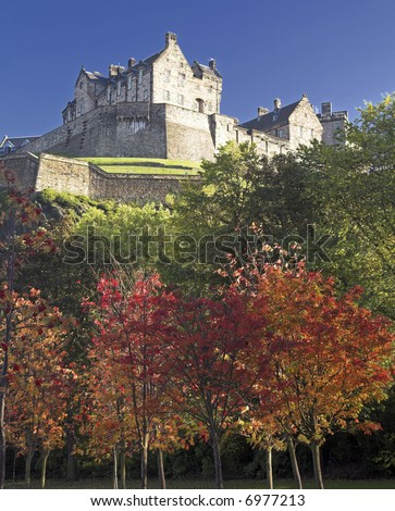 Edinburgh Castle In The Autumn (Fall), Scotland, UK - stock photo