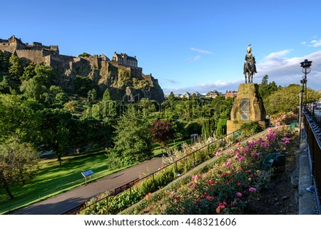 Edinburgh Castle is a historic fortress  on the Castle Rock. - stock photo