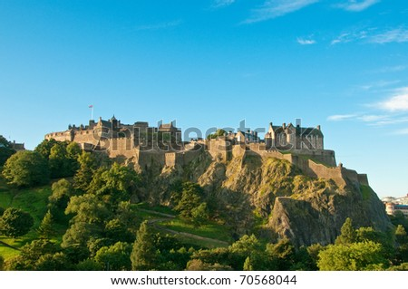 Edinburgh castle on a clear sunny day, Scotland, UK - stock photo
