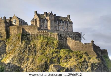 Edinburgh Castle on Castle Rock in Edinburgh, Scotland, UK - stock photo