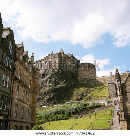 Edinburgh castle, one of the most tourists attract places in Edinburgh, UK - stock photo