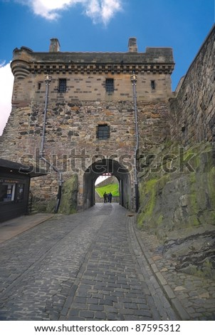 Edinburgh Castle Portcullis gate, Great Britain - stock photo