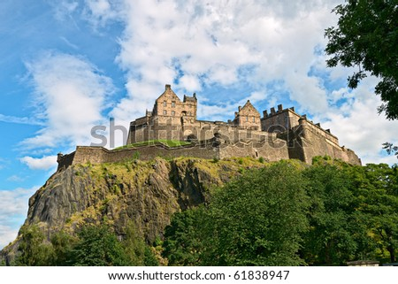 Edinburgh Castle, Scotland, from the west - stock photo