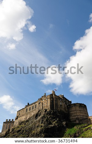 Edinburgh Castle, Scotland, UK, from the South - stock photo