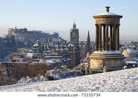 Edinburgh City and Castle, Scotland, captured from Calton Hill on a bright winter day with the Dugald Stewart monument in the foreground, the Scott monument and Balmoral clock tower in the background.