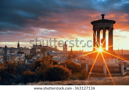 Edinburgh city skyline viewed from Calton Hill. United Kingdom. - stock photo