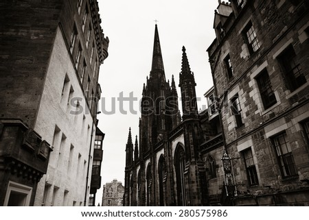 Edinburgh city street view in United Kingdom. - stock photo