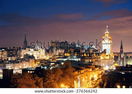 Edinburgh city view at night in UK. - stock photo