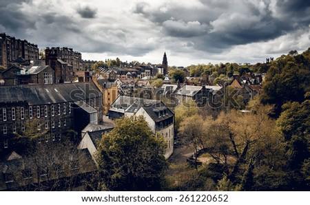 Edinburgh city view with cloudy sky, Scotland - stock photo