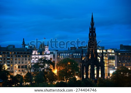 Edinburgh city view with Scott Monument at night in UK. - stock photo