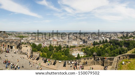 EDINBURGH - JULY 24: Panoramic view of Edinburgh on July 24, 2013 in Edinburgh, Scotland. Edinburgh is the capital city of Scotland, with a population of 482,640 in 2012. - stock photo