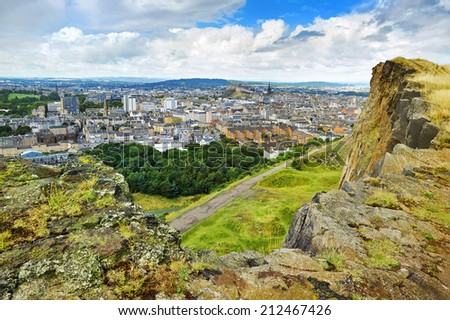edinburgh panorama from Arthur's seat - stock photo