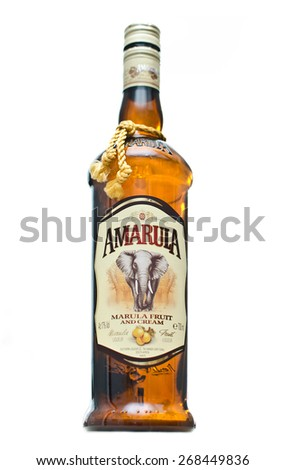 EDINBURGH, SCOTLAND APRIL 26, 2014: photo of a bottle of Amarula cream liqueur in Edinburgh, Scotland. Amarula is a famous cream liqueur from South Africa and is made using the marula fruit. - stock photo