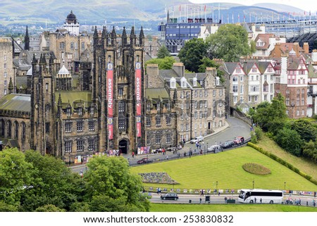 Edinburgh, Scotland - August 15, 2014: View of General Assembly Hall of the Church of Scotland. The Assembly Hall is the meeting place of the General Assembly of the Church of Scotland. - stock photo