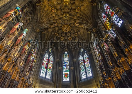 Edinburgh, Scotland - August 15, 2014: View of the Thistle Chapel in St Giles' Cathedral. Is the chapel of The Most Ancient and Most Noble Order of the Thistle, Scotland's foremost Order of Chivalry. - stock photo