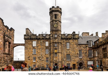 EDINBURGH, SCOTLAND - JULY 17, 2016: The Royal Palace in Crown Square of the  Edinburgh Castle. The Castle was involved in many historical conflicts since 14th century
