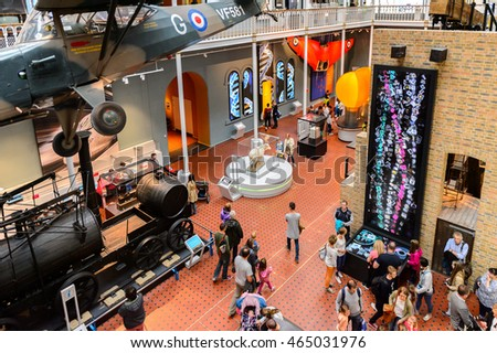 EDINBURGH, SCOTLAND - JULY 17, 2016: Transport area of the National Museum of Scotland. It was renovated in 2011