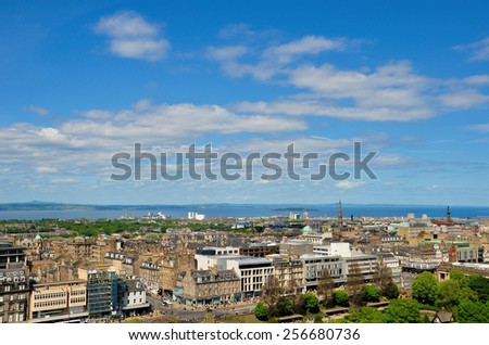 EDINBURGH , SCOTLAND- JUNE 2, 2013. Aerial view of Edinburgh. Edinburgh is the capital city and second most populous city in Scotland. - stock photo