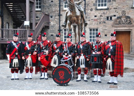 EDINBURGH SCOTLAND JUNE 5:The Royal Scots Dragoon Guards in Edinburgh castle on June 5 2012 in Edinburgh, Scotland, UK. The Royal Scots (The Royal Regiment) was the oldest Regiment in the British Army - stock photo