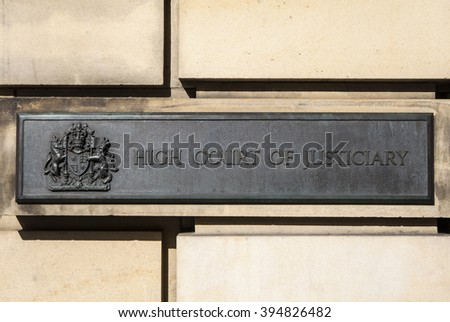 EDINBURGH, SCOTLAND - MARCH 10TH 2016: The High Court of Justiciary in the City of Edinburgh, on 10th March 2016.  It is also known as the Supreme Criminal Court of Scotland.