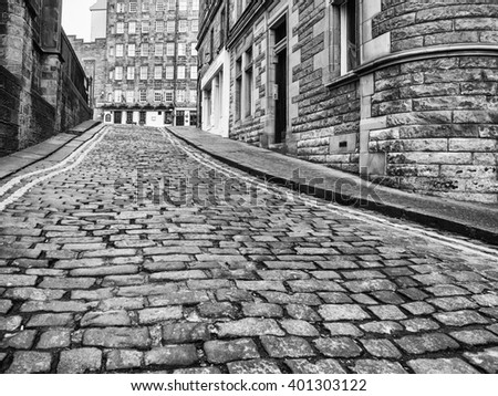 EDINBURGH, SCOTLAND - MARCH 7, 2016: Upper Bow leads to Royal Mile in the Old Town of Edinburgh
