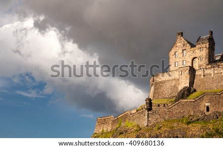 Edinburgh, Scotland - May 30, 2011: Looking up at the barracks of Edinburgh Castle on Castle Rock in central Edinburgh.