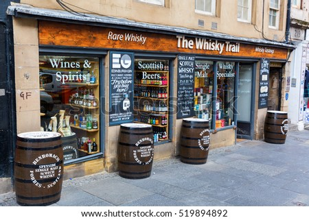 Edinburgh, Scotland - September 09, 2016: Whisky store at the Royal Mile in Edinburgh. Scotland belongs to the great whisky nations with 108 distilleries, stand 2015.