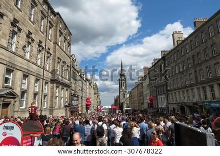 EDINBURGH, SCOTLAND, UK - CIRCA AUGUST 2015: Edinburgh Fringe Festival on the royal Mile - stock photo