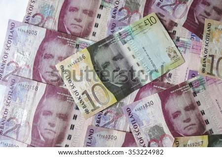 EDINBURGH, SCOTLAND, UK - CIRCA AUGUST 2015: Scottish sterling pound banknotes, currency of Scotland - stock photo