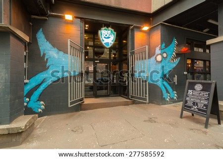 EDINBURGH, SCOTLAND, UK - 2 MAY 2015: Entrance to Brewdog Edinburgh craft beer bar in Cowgate, Edinburgh