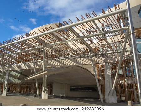 EDINBURGH, SCOTLAND, UK - SEPTEMBER 18, 2010: The new Scottish Parliament is the seat of the local government