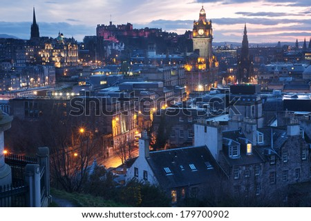 Edinburgh seen from Calton Hill - stock photo