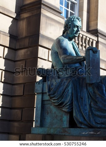 EDINBURGH-SEPT. 22: The statue of philosopher David Hume is seen on The Royal Mile in Edinburgh, Scotland on September 22, 2016.