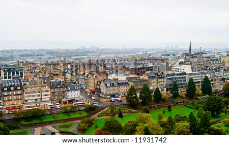 Edinburgh skyline in autumn color - stock photo